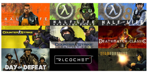 Half-Life, Counter-Strike, Day of Defeat, Deathmatch Classic, Team Fortress Classic, Ricochet